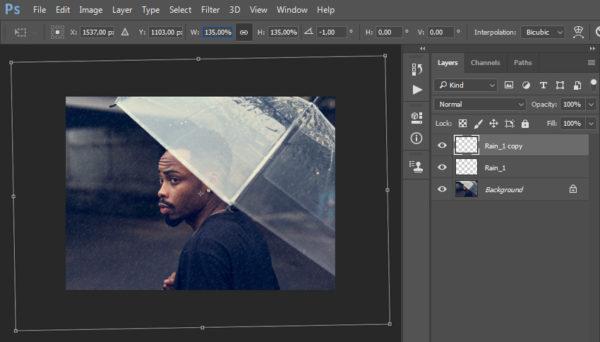 Создаем эффект дождя на фото в Фотошопе